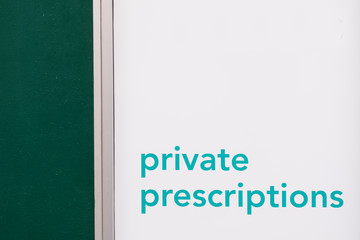 Private prescriptions from doctor at chemist store shop sign uk