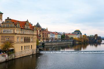 Architecture of the ancient European city of Prague Vltava river