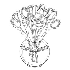 Vector bouquet with outline tulip flowers, bud and ornate leaves in transparency round vase in black isolated on white background. Bunch of contour tulips for spring design or coloring book.