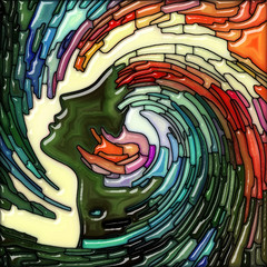 Human Stained Glass Swirl Wave