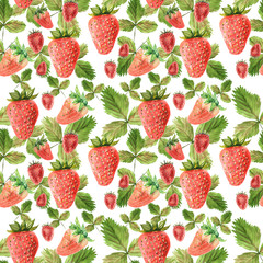 Watercolor seamless pattern with illustration of strawberry leaves and berries on white background.