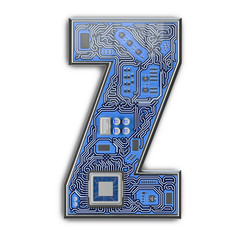 8686143bca01 Letter Z. Alphabet in circuit board style. Digital hi-tech letter isolated  on