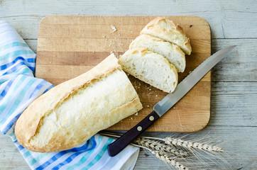 Fresh bread slice cutting knife