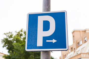 Parking sign showing free places. Sign on a pole