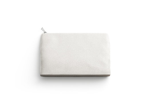 Blank canvas clutch for cosmetic mock up, isolated