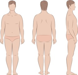 Fat male silhouette. Body fullness. Front, back, side