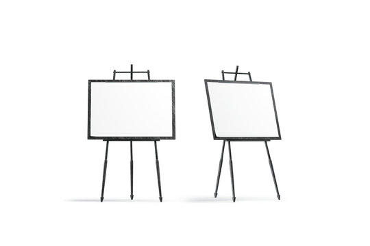 Blank white square canvas stand on tripod mockup set