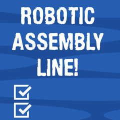 Text sign showing Robotic Assembly Line. Conceptual photo use to increase production speed and consistency Geometric Blank Color Shape Oblong in Seamless Horizontal Pattern photo