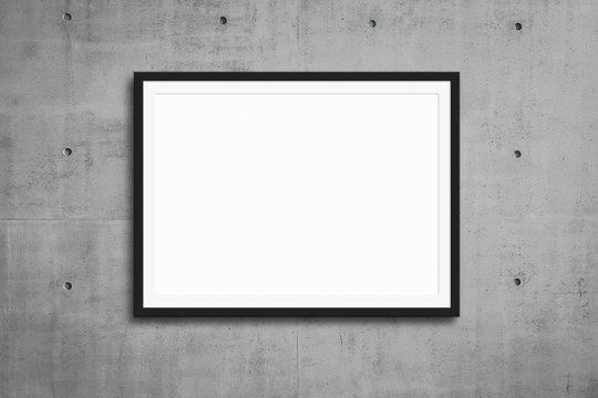 black picture frame hanging on grey concrete wall,  mockup