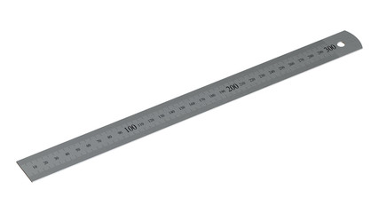 Iron Ruler on White Isolated. Copy Space for Text or Image, Idea Concept for Show length of Item, Unit is Centimeters. 3D Illustration