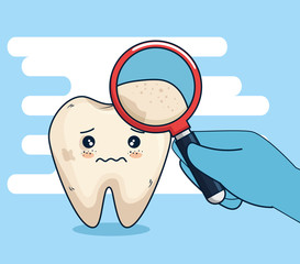 tooth hygiene treatment with magnifying glass