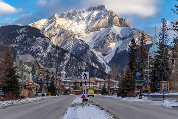 view of downtown Banff National Park, a Unesco World Heritage Site, during the winter. Cascade Mountain in background Fototapete