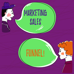 Text sign showing Marketing Sales Funnel. Conceptual photo Visual representation of the customer journey Hand Drawn Man and Wo analysis Talking photo with Blank Color Speech Bubble