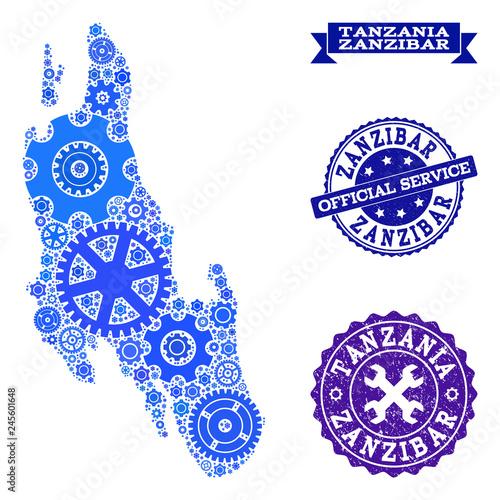 Map of Zanzibar Island composed with blue cog symbols, and isolated Zanzibar Map on