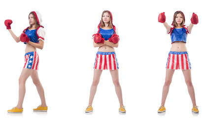 Young female boxer isolated on white