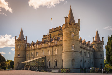Inveraray castle, impressive fortress north of the village, has been since the fifteenth century the abode of the Dukes of Argyll, chiefs of the Campbell clan, Highlands, Scotland