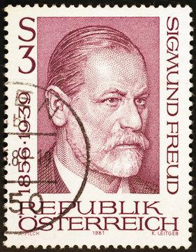 Portrait of Sigmund Freud on austrian postage stamp