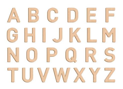 Wooden Font Letter Elements Set A to Z Vector 3d Illustration