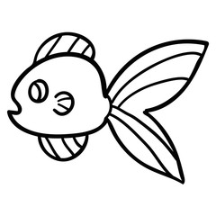 Thin line cute cartoon doodle fish. Hand drawn cheerful tropical aquarium animal. Icon isolated on white background.