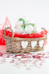 Roses and a hearts on white background, Valentines Day background