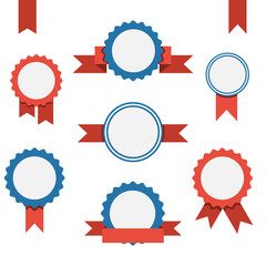 Vector badge, labels and ribbons emblems set