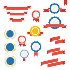 Vector badge, labels and ribbons emblems set