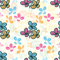 Seamless pattern with colorful flowers - Vector