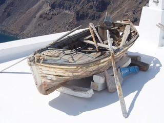 Weathered Wooden Rowboat