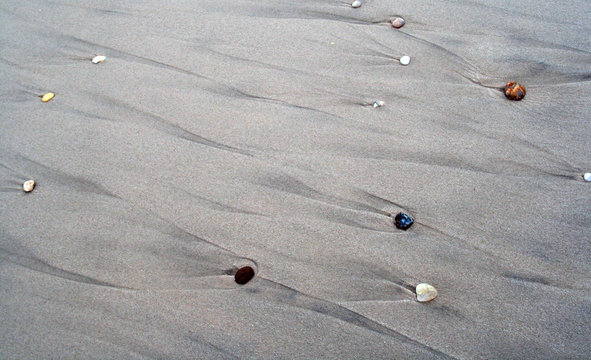 Water pebbles on the beach at Fire Island, Long Island .Suffolk County, New York.