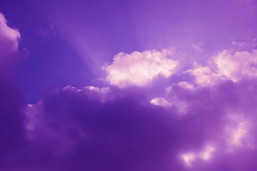 Beautiful sky pink purple lilac ultra violet sunrice time sunset clouds blue mood peace calm peaceful landscape rays through clouds