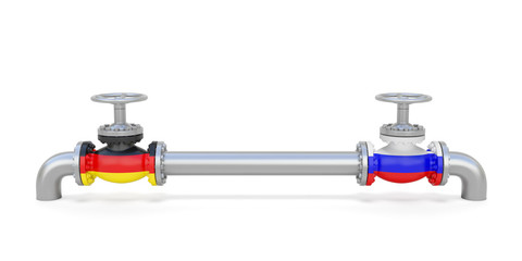 Pipe line and valves (faucets) with national flags of Russia and Germany. Transportation or delivery of natural gas or petroleum on pipeline between supplier and importer