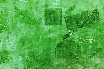 plaster stickers wall street old paint background green ufo pattern black dark obscure vintage grunge