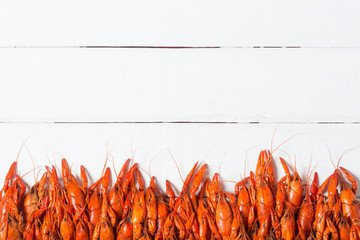 Boiled Crawfish on a White Background Wall mural