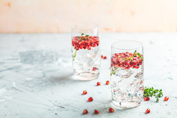 Gin and tonic pomegranate cocktail or detox water with ice