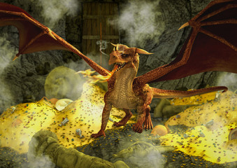 A fantasy scene with a red dragon inside a cavern, surrounded by gold and other treasures.