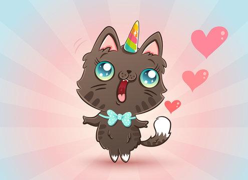 cute cat in kawaii style
