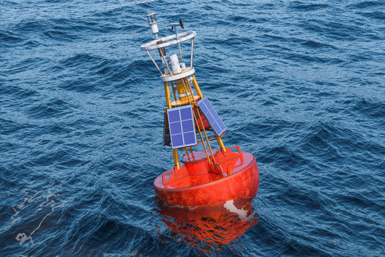 Marine buoy with solar panels in the open sea, 3D rendering