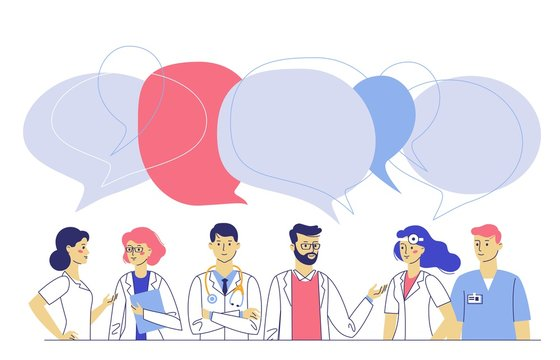 Medicine team concept with different doctors in hospital. Practitioner doctors young man and woman group and speech bubbles. Consultation and diagnosis.