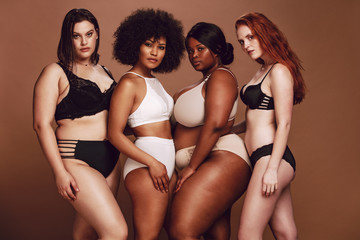 Proud group of women in lingerie posing together Wall mural