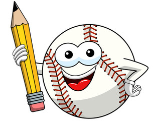 baseball ball character mascot cartoon vector holding pencil isolated