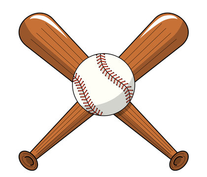 baseball ball crossed wooden bats logo cartoon vector isolated