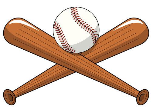 baseball ball crossed wooden bats logo cartoon vector isolated