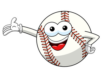 baseball ball character mascot cartoon presenting vector isolated