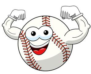 baseball ball character mascot cartoon showing biceps vector isolated