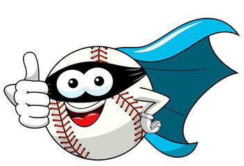 baseball ball character mascot cartoon masked superhero vector isolated