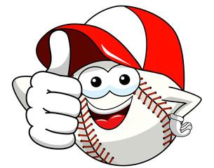 baseball ball character mascot cartoon thumb up cap vector isolated
