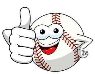 baseball ball character mascot cartoon thumb up gesture vector isolated