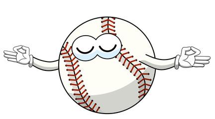 baseball ball character mascot cartoon meditation concentration vector isolated
