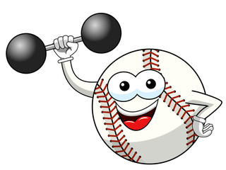 baseball ball character mascot cartoon weightlifter vector isolated