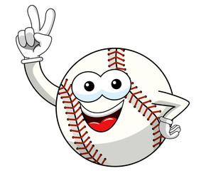 baseball ball character mascot cartoon victory sign gesture vector isolated